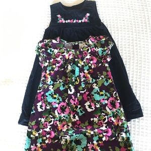 Corduroy dress floral, navy blue 18 month
